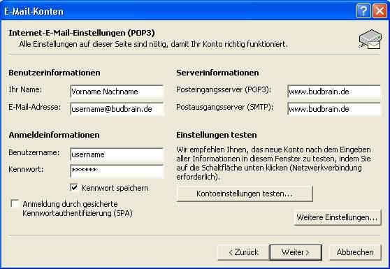 Budbrain eMail Konto einrichten, und AntiSpam regel einrichten...